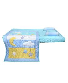 Blooming Buds Sweet Lullaby Moon & Stars 5 Piece Cot Set - Blue