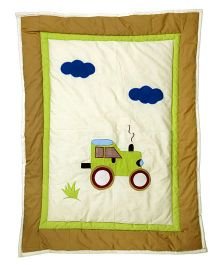 Blooming Buds Tractor Print Baby Quilt - Green