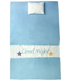 Blooming Buds Sweet Lullaby Baby Cot Sheet With Pillow - Blue