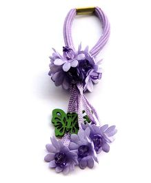 Cutekins Flowers With Butterflies & Beads Rubberband - Purple And Green