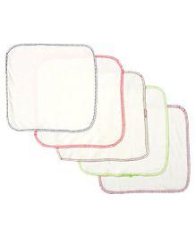 Pebbles Hankies Set of 5 - Multicolour Border