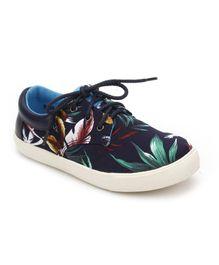 DingDingWa Leaf Print Casual Shoes - Navy Blue