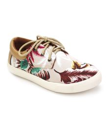 DingDingWa Leaf Print Casual Shoes - Off White