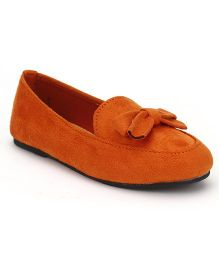 Little Paws Bow Print Suede Shoes - Orange
