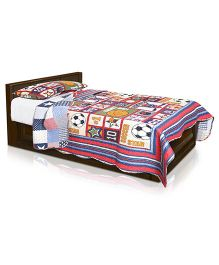 Baby Oodles Single Bedcover Cum Quilted Blanket and Pillow Cover - Multicolor