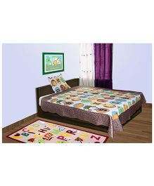 Baby Oodles Single Bedcover Cum Quilted Blanket and Pillow Cover - Multi Color