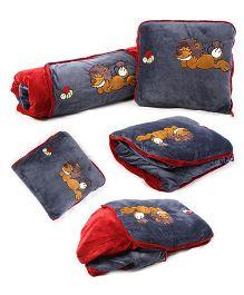 Baby Oodles Cushion cum Zipper Quilt Lion Applique - Grey