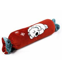 Toffee Pillow Cum Quilt Polar Bear Applique - Red