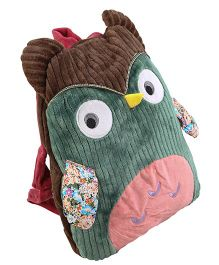 Baby Oodles Embroidered And Owl Applique Backpack Stuffed With Mink Blanket - Multicolor