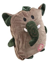 Baby Oodles Embroidered And Elephant Applique Backpack Stuffed With Mink Blanket - Brown