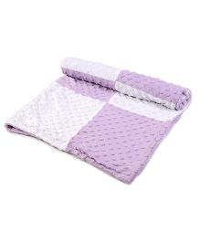 Baby Oodles Popcorn Fleece Baby Blanket - Lavender and White