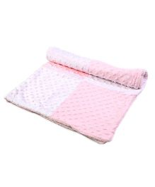 Baby Oodles Popcorn Fleece Baby Blanket - Pink and White