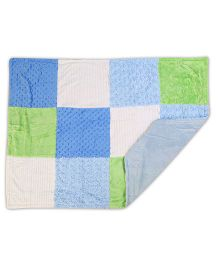 Baby Oodles Multi Fabric Plush Baby Blanket - Blue Green White