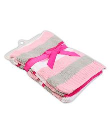 Baby Oodles Knitted Baby Blanket Striped Pattern - Pink