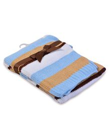 Baby Oodles Knitted Baby Blanket Striped Pattern - Blue