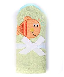 Baby Oodles Bath Wrap Fish Applique - Green