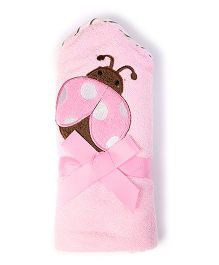 Baby Oodles Bath Wrap Ladybird Applique - Pink