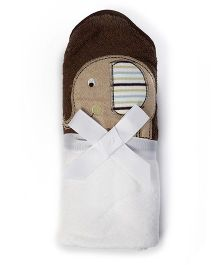 Baby Oodles Bath Wrap Elephant Applique - Blue and Brown