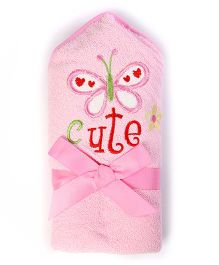 Baby Oodles Bath Wrap Butterfly Applique - Pink