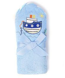 Baby Oodles Bath Wrap Ship Applique - Blue