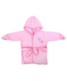 Baby Oodles Full Sleeves Bathrobe Butterfly Patch - Pink
