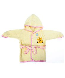 Baby Oodles Full Sleeves Bathrobe Teddy Patch - Yellow and Pink