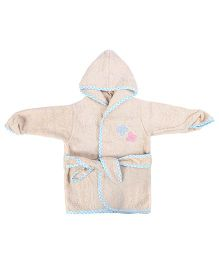 Baby Oodles Full Sleeves Bathrobe Butterfly Patch - Beige and Blue