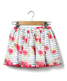 Beebay Rose Print Skirt - Pink & White