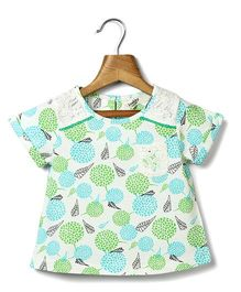 Beebay Short Sleeves Top Floral Print - Green Blue