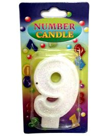 Gifts World Number 9 Candle - White