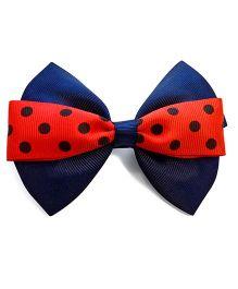 Keira's Pretties Polka Dot Bow Hair Clip - Blue & Red