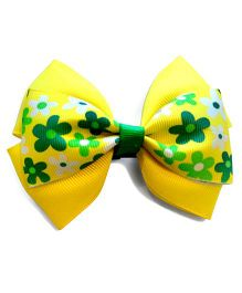 Keira's Pretties Floral Bow Hair Clip - Yellow & Green