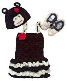 MayRa Knits Monkey Photo Prop Dress Set - Multicolour