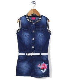 Tiny Girl Sleeveless Denim Frock With Belt  Floral Print - Dark Blue