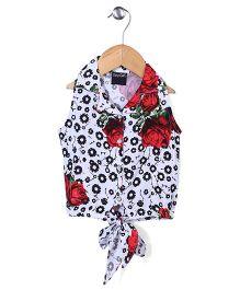 Tiny Girl Sleeveless Party Top Floral Print - White