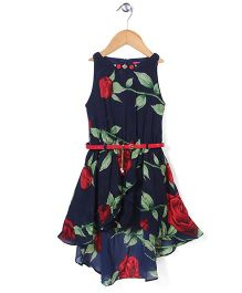 Tiny Girl Asymmetrical Party Frock With Belt Floral Print - Navy