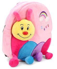 Caterpillar Applique Embroidery Soft Toy Bag Light Pink - 11 Inches