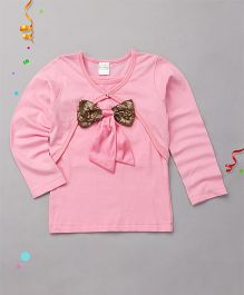 Babyhug Singlet Party Top With Shrug Bow Applique - Pink