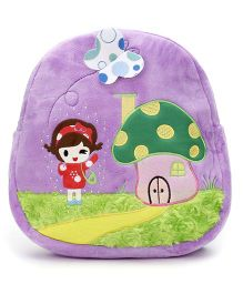 Mushroom House Embroider Soft Toy Bag Purple - 11 Inches