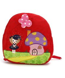 Mushroom House Embroider Soft Toy Bag Red - 11 Inches