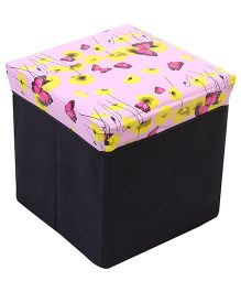 Square Shape Foldable Butterfly Print Storage Box - Pink