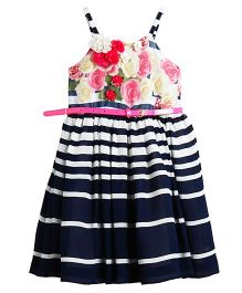 Barbie Singlet Frock Floral and Nautical Stripes Print - Blue