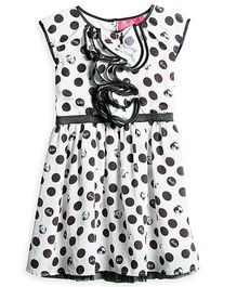 Barbie Sleeveless Frock Barbie Faces Print - Black and White
