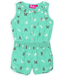 Barbie Sleeveless Jumpsuit Butterfly Print - Green