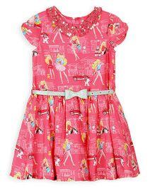 Barbie Printed Short Sleeves Frock - Pink