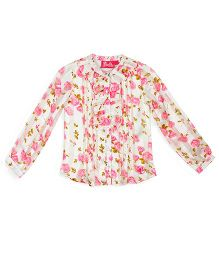 Barbie Full Sleeves Top Floral Print - White and Pink