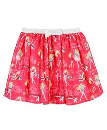Barbie Printed Skirt Bow Applique - Pink