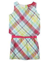 Barbie Sleeveless Blouson Dress Checks Print - Multi Color