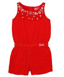 Barbie Sleeveless Jumpsuit Hearts Print - Red