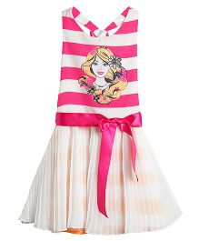 Barbie Printed Sleeveless Frock - Pink and White